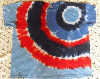 Tie dye Women 2X shirt Bullseye of USA patriotic colors July 4