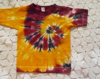 SALE!!  Tie dye 2 Toddler shirt mega spiraled in gold and burgundy maroon, and splashed with black  CLEARANCE!!