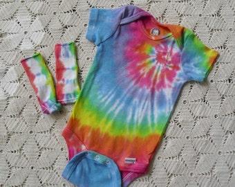 Tie dye one-piece/socks Easter Pastel Rainbow Spiral