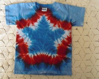 Tie dye youth extra small shirt patriotic star red white blue July 4