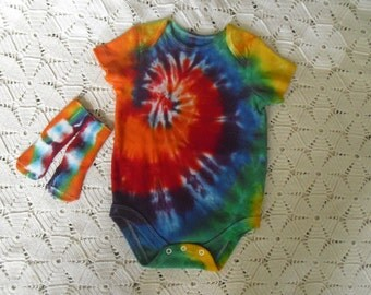 Tiedyed 3-6 month bodysuit and matching socks spiraled in a royal rainbow-  It's the pot of gold.