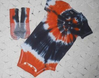 SALE  Tie dye 18 month bodysuit / socks orange and black SALE - 250