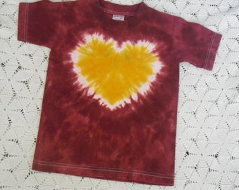 "Tie dye youth small shirt  ""Heart of Gold"" with maroon/burgandy  (All sizes can be dyed!)  350"