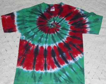Tie dye shirt -Christmas spiral with stained glass- Some sizes ready to ship today, others will ship within a week.