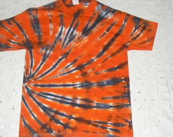 Tiedye tshirt Adult Medium black and orange tiger swirl