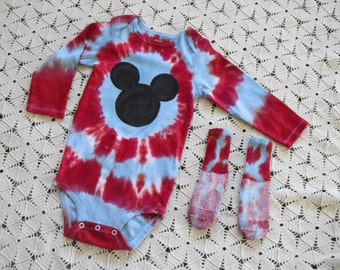 SALE!!  Tie dye 24 month bodysuit/one-piece and matching socks - MOUSE in red and baby blue, CLEARANCE!! 400
