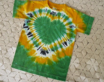 Tie dye shirt, youth small gold and green HEART is ready to ship today
