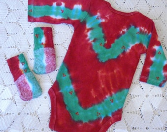 """Clearance Sale- Tie dye 0-3 month bodysuit and matching socks - Christmas """"HOLLY BOUGHS"""""""