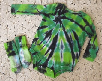 "Tie dye 12 mo. long sleeve bodysuit/socks- St. Patrick's Day ""Pinch Protection""-  All other sizes will be dyed/shipped within a week! 250"
