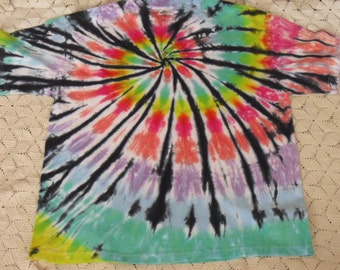 Tie dye Adult XL shirt- Pastel rainbow spiral with a twist of black - All other sizes available upon request, 250