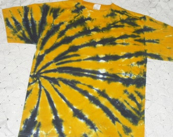Tie dye adult medium shirt- Gold and black side swirl (Other sizes can be dyed and shipped within a week.) 250