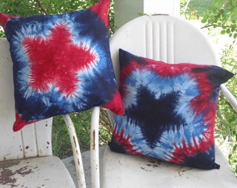 Tie dye designer decor throw pillow COVERS - 14 inch, 18 inch, or 24 inch -  Patriotic Star, 200