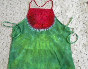 Tie dye apron -  Watermelon Whimsy - adult size