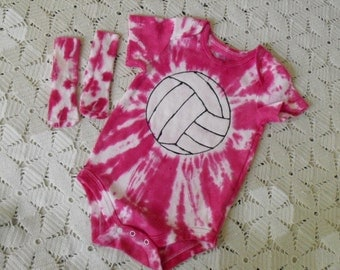 Tie dye one-piece and socks- pink volleyball- Cancer Awareness- Pink out Game-  1100