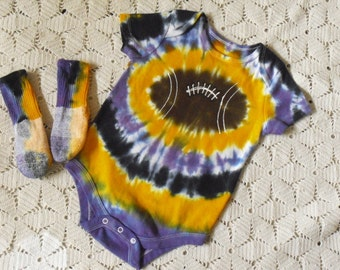 Tie dye 12 month bodysuit and socks -Football of purple, gold, and black, 275
