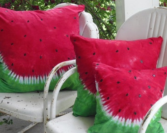 "Tie dye decorative designer throw pillow covers (You choose the size!!) ""Watermelon Whimsy""  1100"