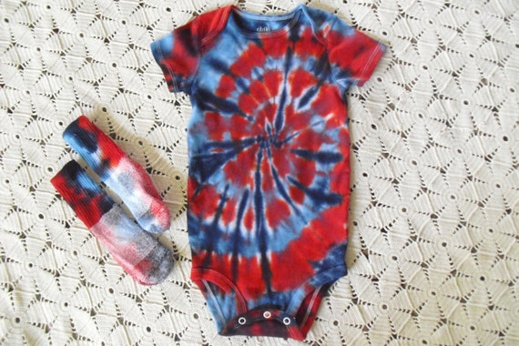 Tiedye 24 month bodysuit and socks spiraled in red & baby, and swirled in navy blue - Patriotic- July 4