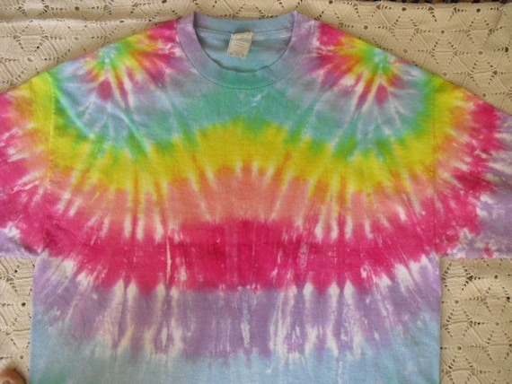 Tie dye Extra Large shirt Easter Pastel rainbow double-spiral
