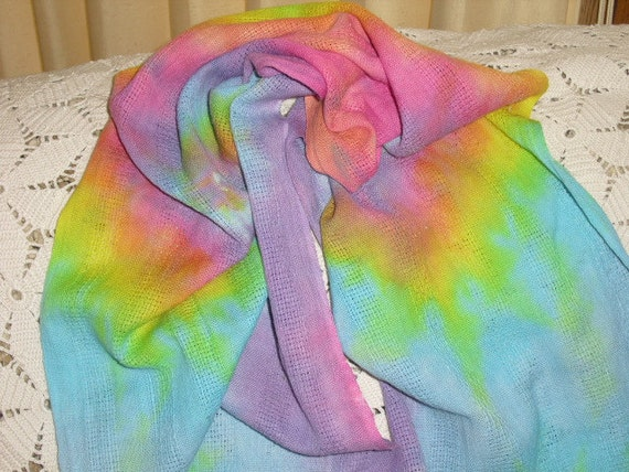 Pastel rainbow neck scarf - Easter, Mother's Day, Spring
