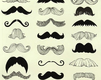 "Fabric 1 Yard ""WHERE'S MY STACHE"" Mustache Alexander Henry Black Cream Quilting Sewing"