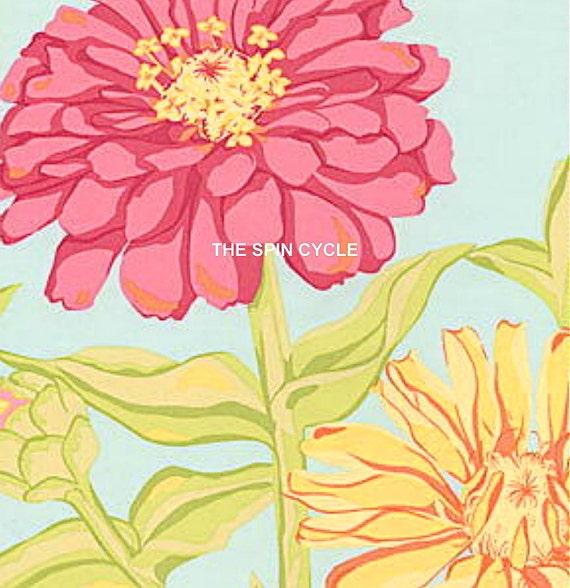 Fabric 1 Yard ESTRELLA Valori Wells Baby Blue Sky ZINNIAS Zinnia Blooms Free Spirit Flowers Quilting Sewing