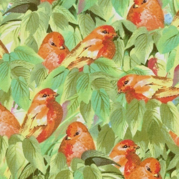 Fabric 1 Yard SPRING FLIGHT Sweet Birds in Trees Peach Songbirds Fabri Quilt Aviary Nature Quilting Sewing