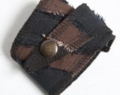 Rugged Brown and Black Patchwork Stripe Cotton Canvas Wrap Cuff with Antique Brass Snap Closure