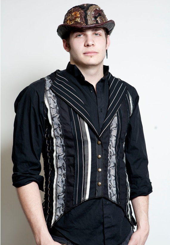 CUSTOM TAILCOAT Patchwork Vest with Corset Sides & Back Adjustable Sizing Mens