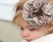 SALE: Brown Paisley Hair Pom Headband