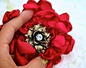 AUDREY: Ruby Red Chrysanthemum Hair Flower accented with a vintage Inspired Bronze Embellishment