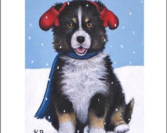 ACEO Art Print Mittens dog