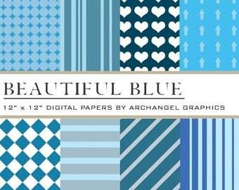 """Beautiful Blue Digital Scrapbook Paper Pack - 8 Papers - 300 DPI - 12"""" x 12"""""""