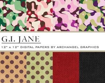 "G.I. Jane Digital Scrapbook Paper Pack - 8 Papers - 300 DPI - 12"" x 12"""
