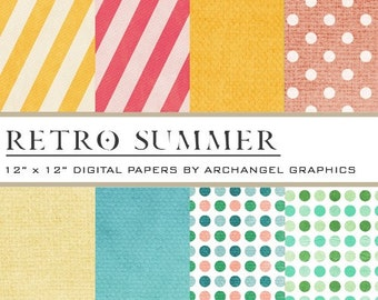 "Retro Summer Digital Scrapbook Paper Pack - 8 Papers - 300 DPI - 12"" x 12"""