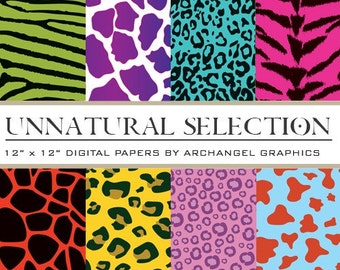 "Unnatural Selection Animal Print Digital Scrapbook Paper Pack - 8 Papers - 300 DPI - 12"" x 12"""