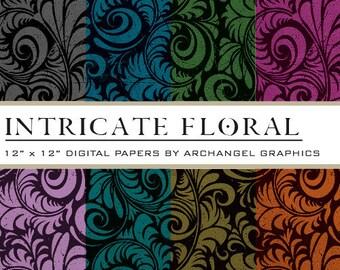 "Intricate Floral Digital Scrapbook Paper Pack - 8 Papers - 300 DPI - 12"" x 12"""
