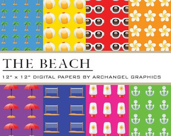 "The Beach Digital Scrapbook Paper Pack - 8 Papers - 300 DPI - 12"" x 12"" - Palm Trees, Beach Ball, Sunglasses, Umbrella, Volleyball, Suntan Lotion, Anchor"