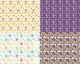 "Stars Digital Scrapbook Paper Pack - 8 Papers - 300 DPI - 12"" x 12"""