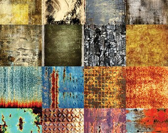 "Old Grunge Digital Scrapbook Paper Pack - 16 Papers - 300 DPI - 12"" x 12"" - Metal, Aged, Rust, Old, Steel, Scratched, Worn"
