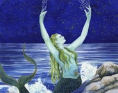 Lunar Cast - Matted Digital Print of Mermaid Watercolor - 11x14 inches