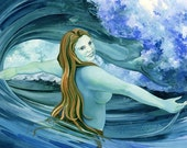 Aqua Veil - Matted Digital Print of Mermaid Watercolor - 11x14 inches