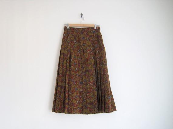 EOTY SALE - vintage 1970s skirt / floral print skirt / pleated skirt / high waisted skirt / wool skirt / italian