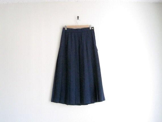 vintage navy blue long high waisted pleated skirt - deadstock