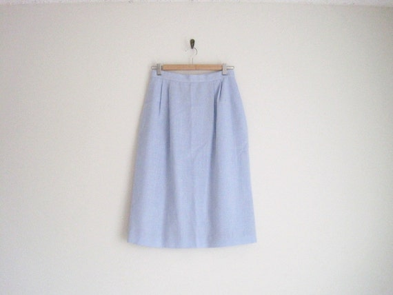 vintage light blue high waisted skirt by lord & taylor / knee