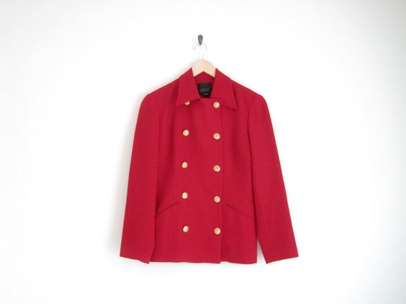 vintage red peacoat with gold buttons / wool coat / double breast / classic jacket