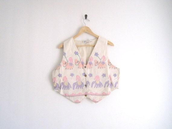 sale - vintage pastel elephant vest // ethnic indian print