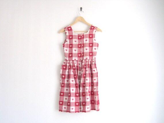 SALE SALE SALE - vintage plaid dress / heart dress / gingham / red white / criss cross back