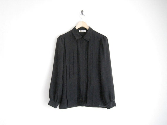SIX DOLLAR BIN - vintage black sheer shirt with pleats / sheer button down blouse with pointed collar