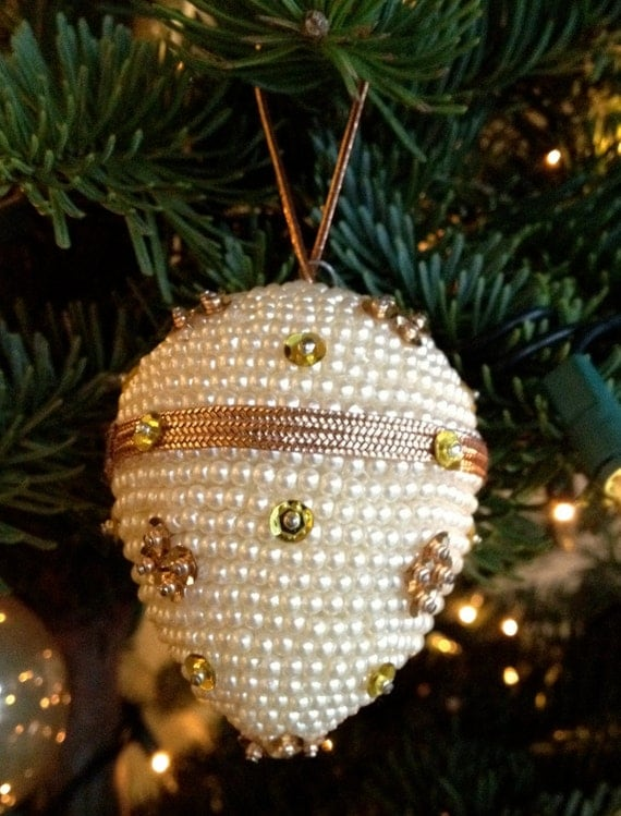 Pearl and sequin egg Christmas ornament