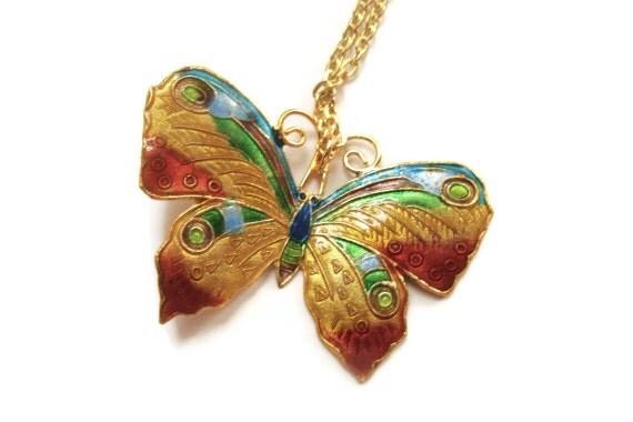 16K Gold Plated Enamel Butterfly Necklace
